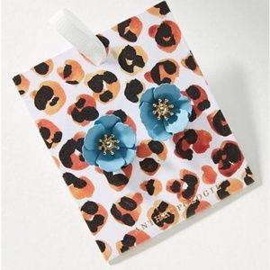 Anthropologie Blue Gold Floral Earrings by Zenzii